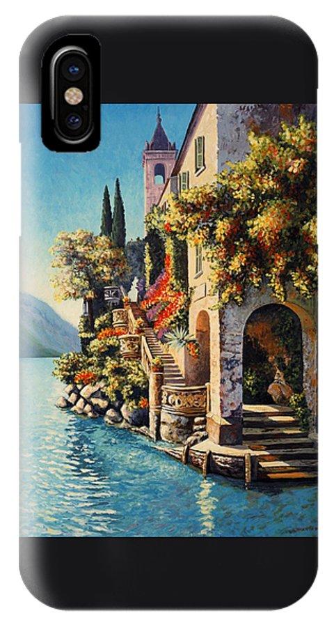 Impressionism Landscape IPhone X Case featuring the painting Villa Balbianello Lake Como by Santo De Vita