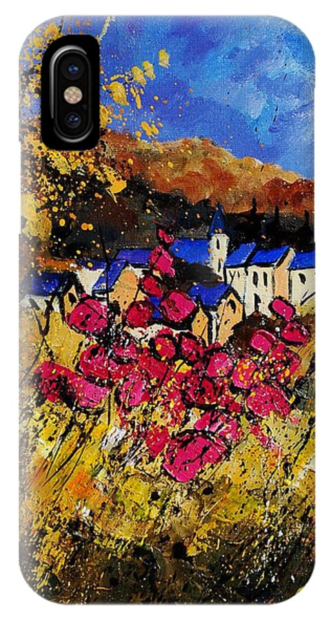 Flowers IPhone X Case featuring the painting Village 450808 by Pol Ledent