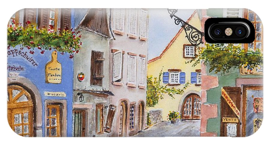 Village IPhone X Case featuring the painting Village In Alsace by Mary Ellen Mueller Legault