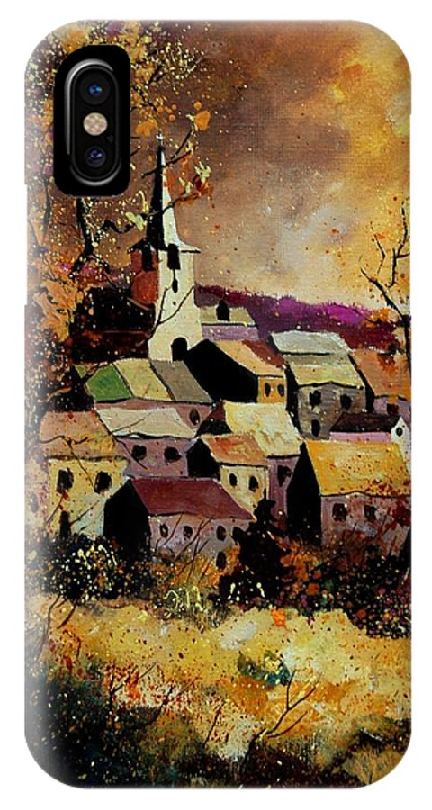 River IPhone X Case featuring the painting Village In Fall by Pol Ledent