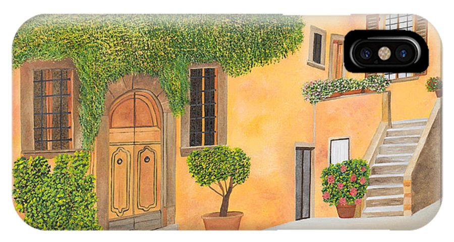 Tuscany IPhone X / XS Case featuring the painting Village In Tuscany N. 4 - by Sandra Lorant