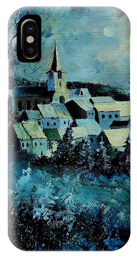 River IPhone X Case featuring the painting Village In Winter by Pol Ledent