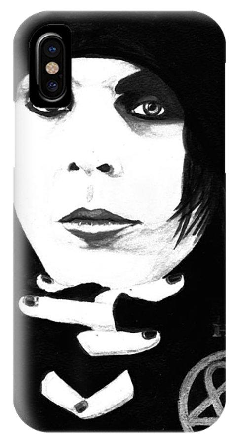 Ville Valo IPhone X Case featuring the painting Ville Valo Portrait by Alban Dizdari
