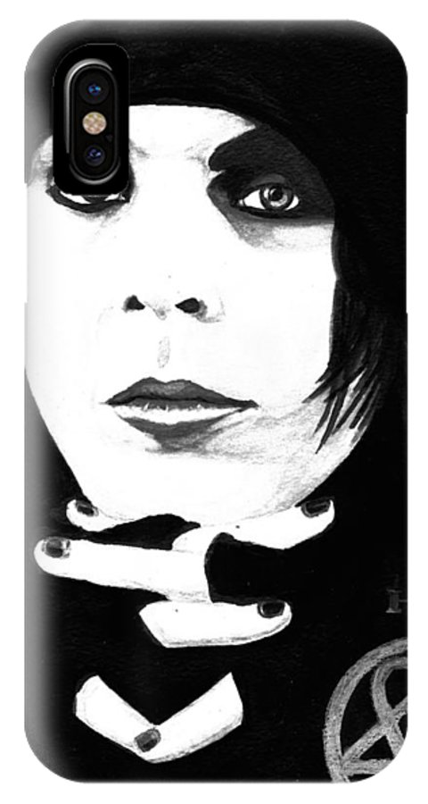 Ville Valo IPhone X Case featuring the painting Ville Valo Portrait by Alban Dizdari