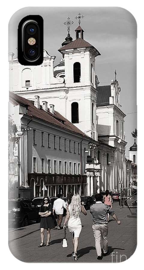 Black And White IPhone X Case featuring the photograph Vilnius People by Christian Hallweger