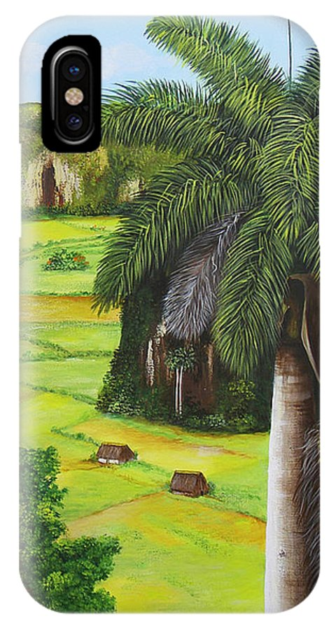 Cuban Landscape IPhone X Case featuring the painting Vinales Valley by Dominica Alcantara