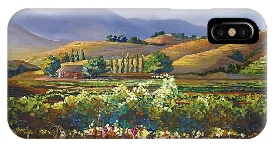 Vineyard IPhone X Case featuring the painting Vineyard In California by Heather Coen