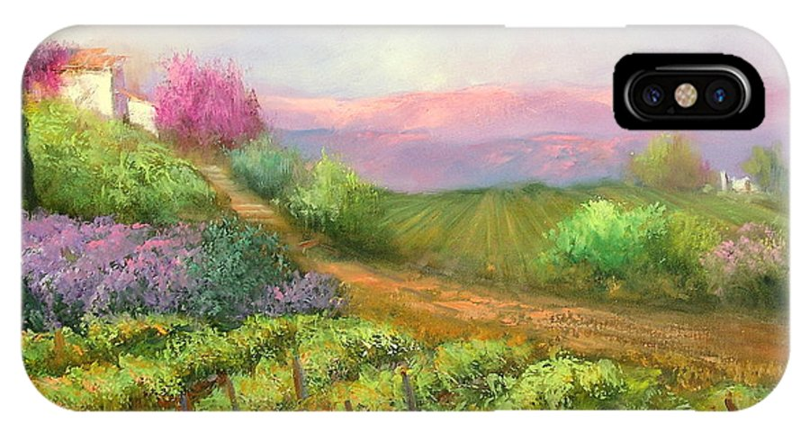 Vineyard IPhone Case featuring the painting Vineyard Spring by Sally Seago