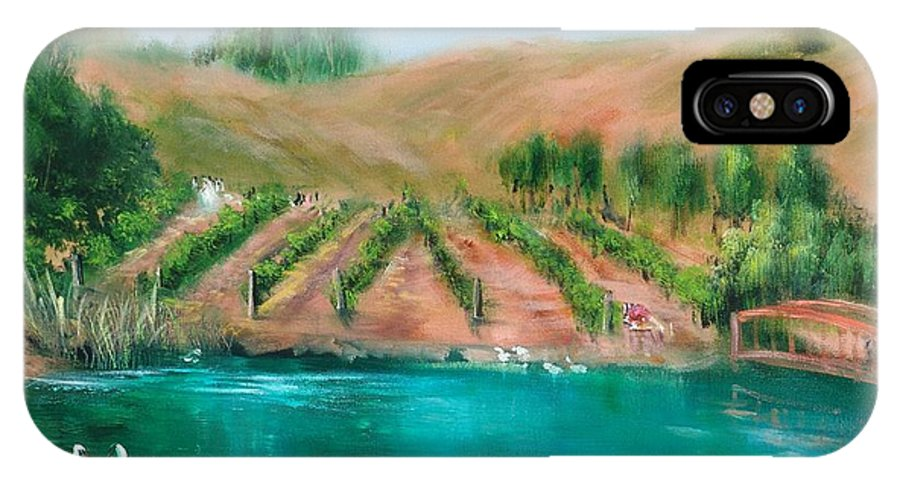 Vineyard IPhone X Case featuring the painting Vineyard Wedding by Sally Seago