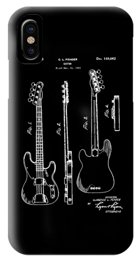 Vintage IPhone X / XS Case featuring the photograph Vintage 1953 Fender Base Patent by Bill Cannon
