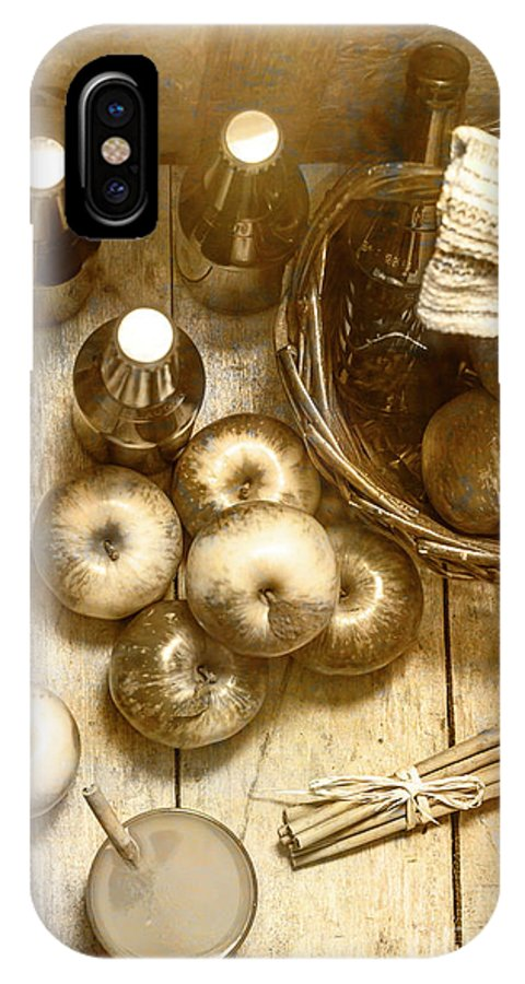 Cider IPhone X Case featuring the photograph Vintage Apple Cider On Wood Crate by Jorgo Photography - Wall Art Gallery