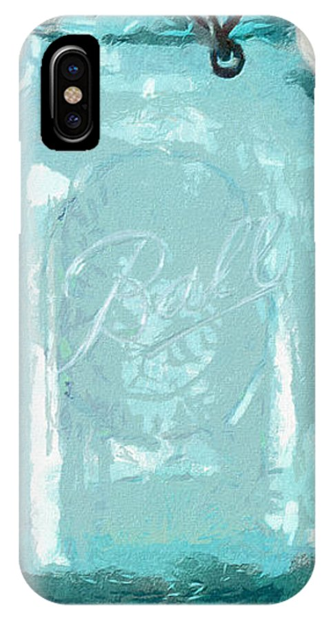 Ball IPhone X / XS Case featuring the painting Vintage Ball Blue Fruit Canning Jar by Anne Kitzman
