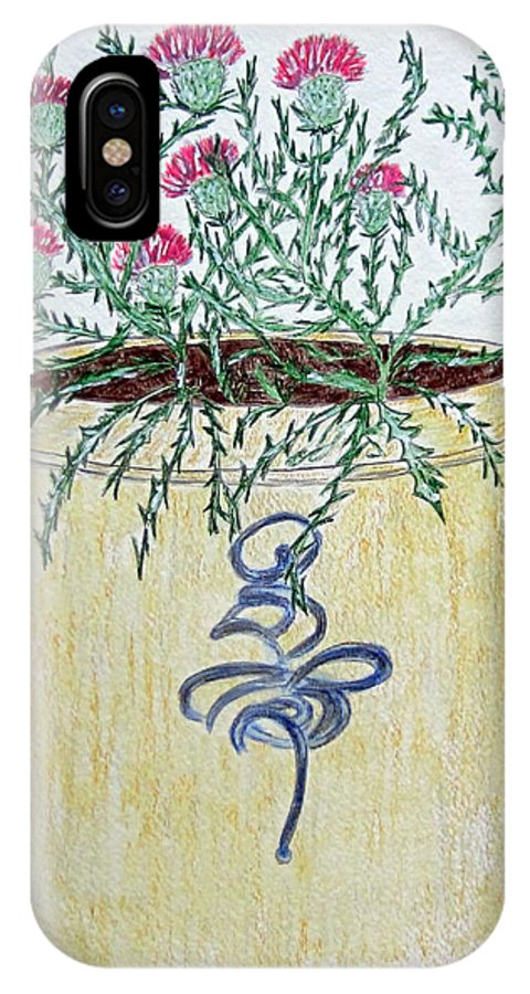 Vintage IPhone Case featuring the painting Vintage Bee Sting Crock And Thistles by Kathy Marrs Chandler