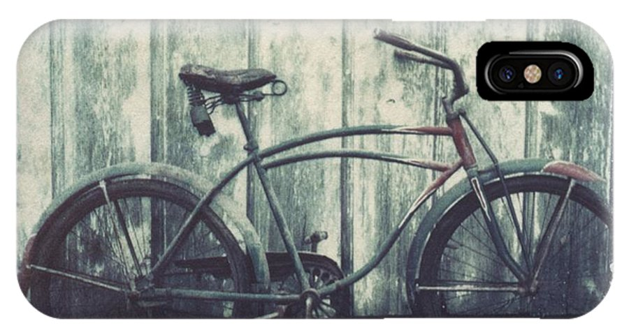Polaroid Transfer IPhone X Case featuring the photograph Vintage Bike Polaroid transfer by Jane Linders