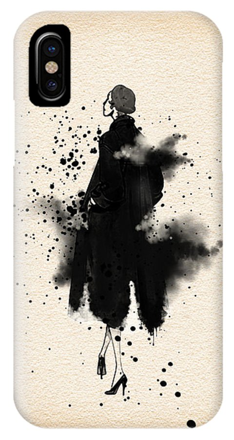 IPhone X Case featuring the painting Vintage Coat Dress 2 - By Diana Van by Diana Van