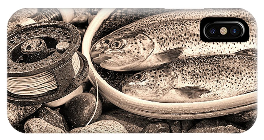 Vintage IPhone X Case featuring the photograph Vintage Concept Of Fly Reel And Pole With Trout In Net by Thomas Baker