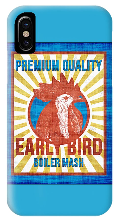 Chick IPhone X Case featuring the digital art Vintage Early Bird Boiler Mash Feed Bag by Joy McKenzie
