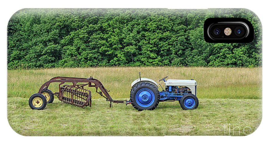 Tractor IPhone X Case featuring the photograph Vintage Ford Blue And White Tractor On A Farm by Edward Fielding