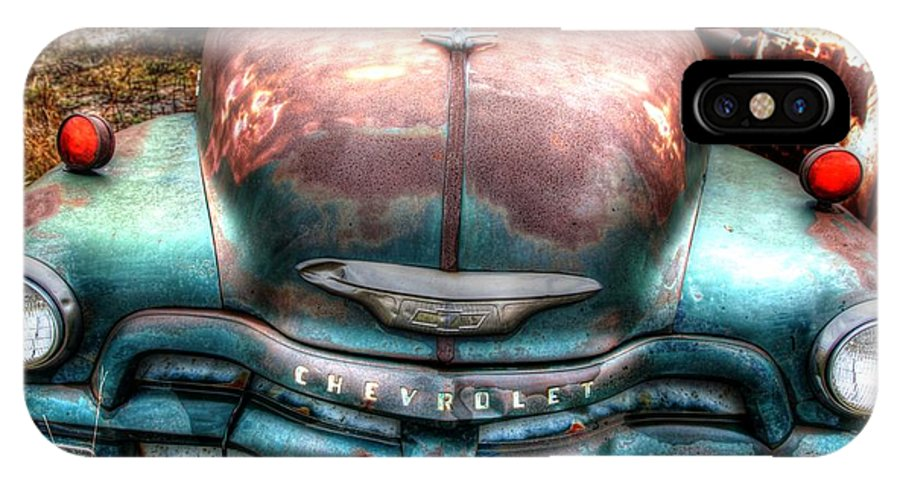 Chevy IPhone X Case featuring the photograph Vintage Green Chevy Truck by Val Niles