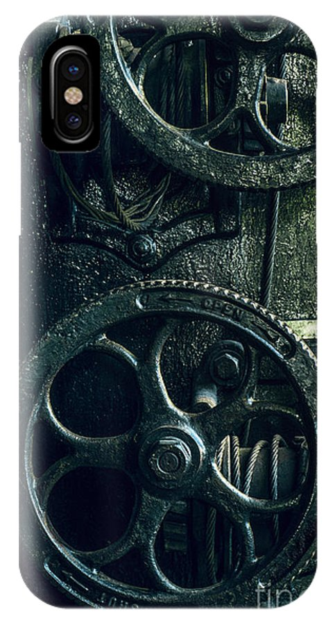19th Century IPhone X Case featuring the photograph Vintage Industrial Wheels by Carlos Caetano