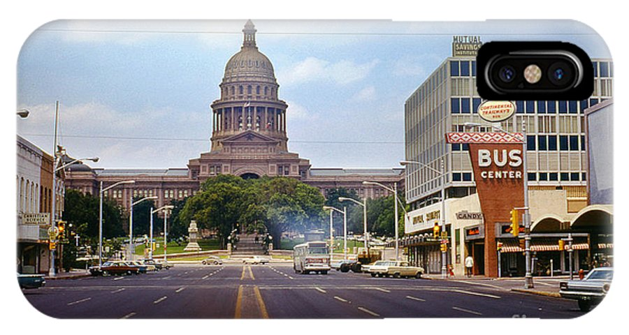 Vintage IPhone X Case featuring the photograph Vintage July 1968 View Looking Up Congress Avenue To The Texas State Capitol by Herronstock Prints