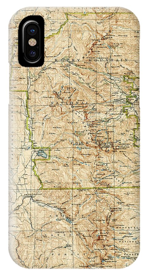 Rocky Mountain National Park IPhone X Case featuring the drawing Vintage Map Of Rocky Mountain National Park - Colorado - 1919/1940 by Blue Monocle