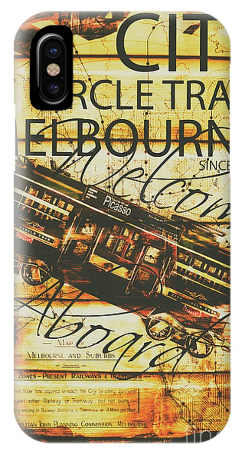 Tin Sign IPhone X Case featuring the photograph Vintage Melbourne Tram Tin Sign by Jorgo Photography - Wall Art Gallery