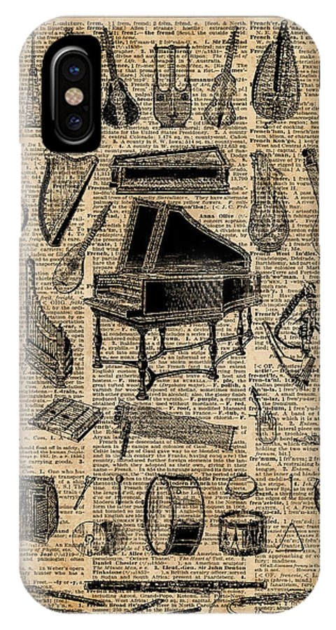 Vintage Music Instruments IPhone X Case featuring the digital art Vintage Music Instruments Dictionary Art by Anna W