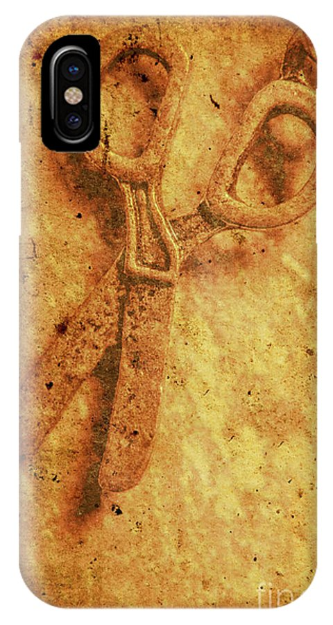 Scissors IPhone X Case featuring the photograph Vintage Scissors On Textured Book Cover Paper by Jorgo Photography - Wall Art Gallery