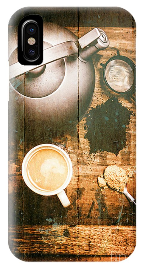 Vintage IPhone X Case featuring the photograph Vintage Tea Crate Cafe Art by Jorgo Photography - Wall Art Gallery