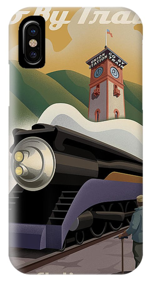 Union Station IPhone X Case featuring the digital art Vintage Union Station Train Poster by Mitch Frey