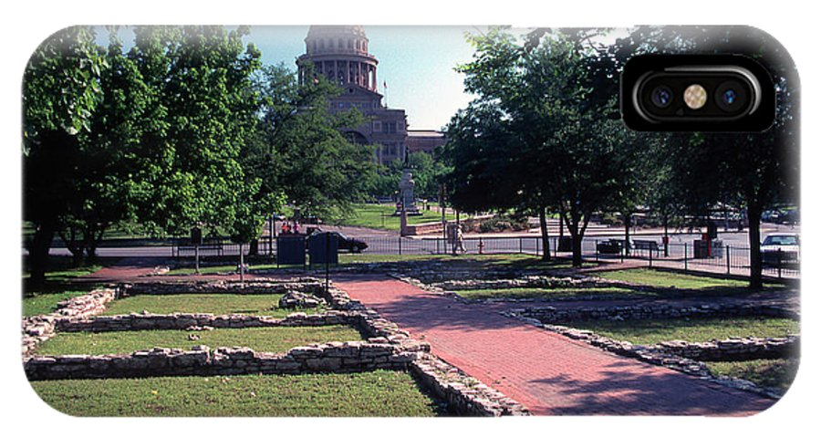 Vintage View IPhone X Case featuring the photograph Vintage View Of The Foundation Of The First Texas Capitol That Burned Down In 1836 by Herronstock Prints