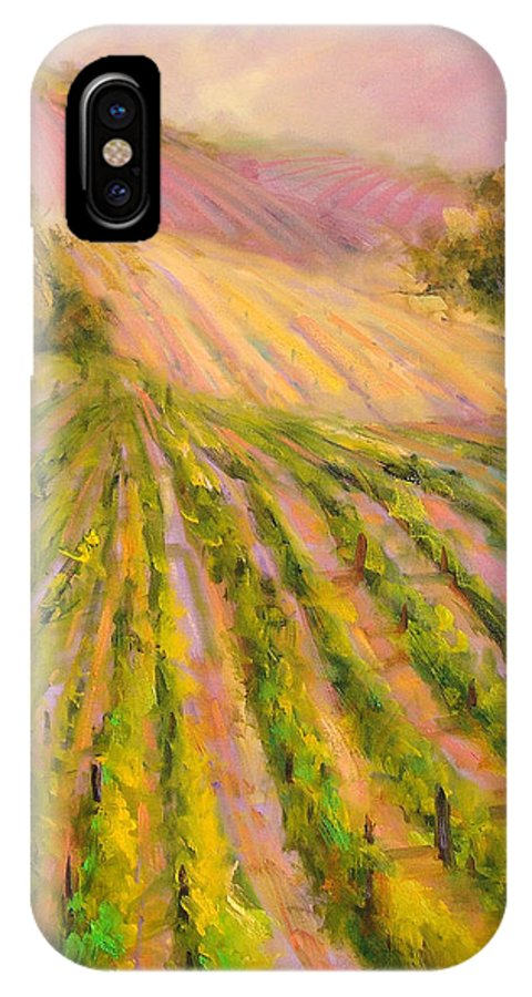 Vineyards IPhone X Case featuring the painting Vintners Delight by Sally Seago