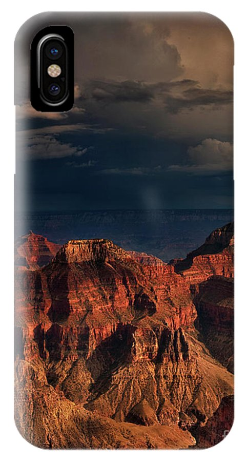 Dave Welling IPhone X Case featuring the photograph Violent Storm Over The North Rim Grand Canyon National Park Arizona by Dave Welling