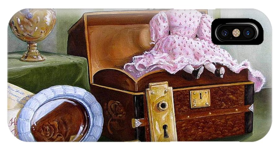 Doll IPhone X Case featuring the painting Violets Attic by Tanja Ware