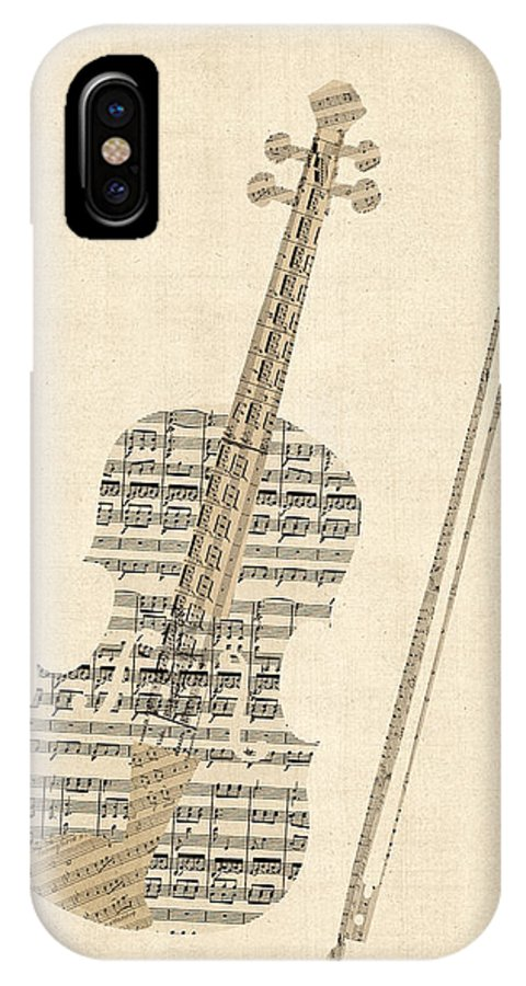 Violin IPhone X Case featuring the digital art Violin Old Sheet Music by Michael Tompsett