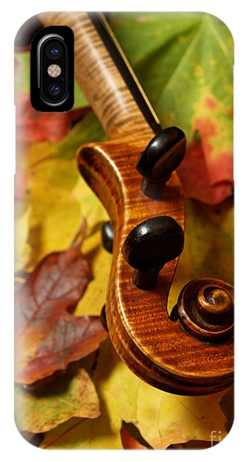 Violin IPhone X Case featuring the photograph Violin Scroll With Fall Maple Leaves by Anna Lisa Yoder