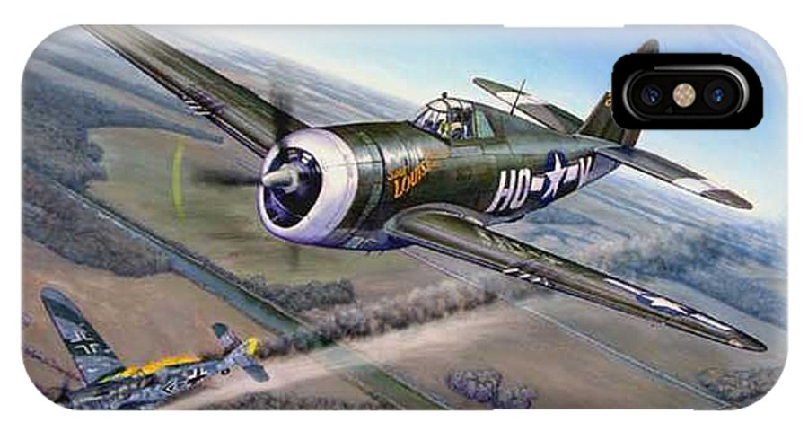 The 352nd Fighter Groups First Ace Shoots Down The German Ace Klaus Mietush On March 8th 1944 IPhone X Case featuring the painting Virgil Meroney Downs Klaus Mietush by Scott Robertson