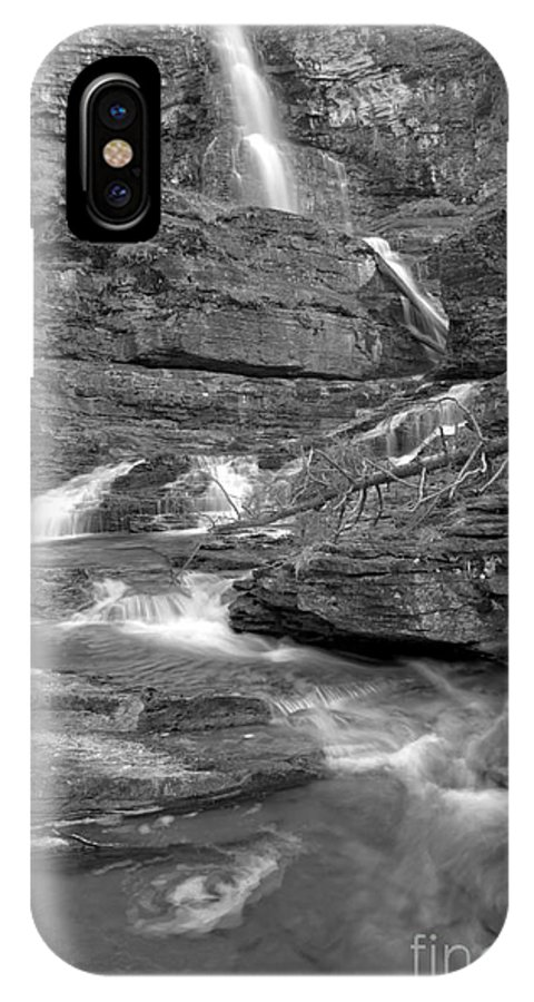 Black IPhone X Case featuring the photograph Virginia Falls Glacier Cascades - Black And White by Adam Jewell