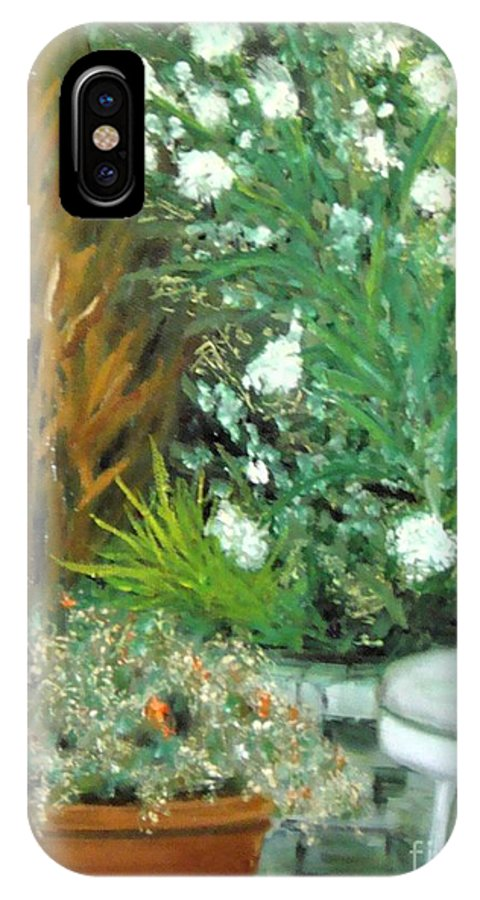 Plein Air IPhone X Case featuring the painting Virginia's Garden by Laurie Morgan