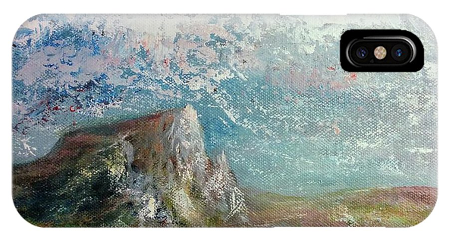 IPhone X Case featuring the painting Virtual Mountain by Anthony Camilleri