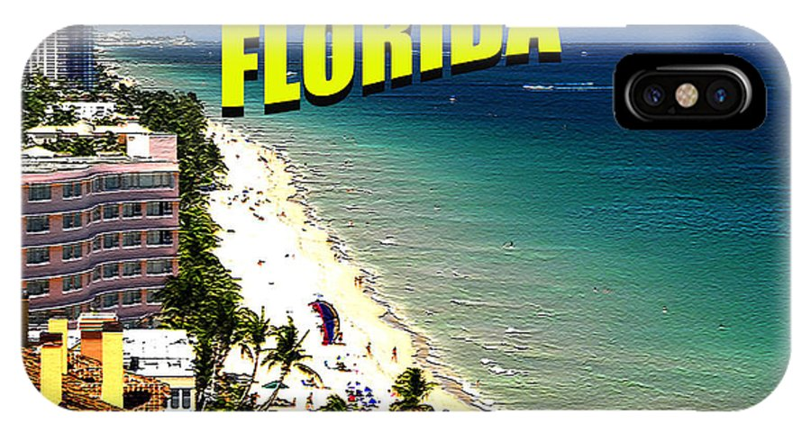 Fort Lauderdale Beach Florida IPhone X Case featuring the digital art Visit Fort Lauderdal Poster A by David Lee Thompson