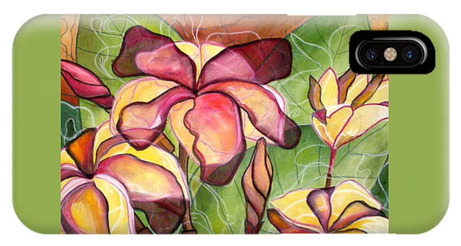 Plumeria IPhone X Case featuring the painting Vivian's Plumeria by Kimberly Kirk