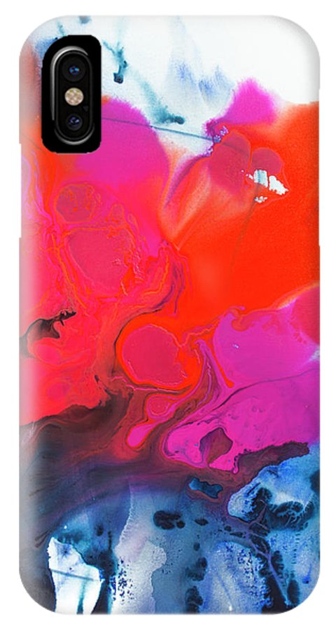 Abstract IPhone X Case featuring the painting Voice by Claire Desjardins