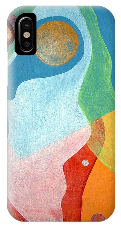 Abstract IPhone X Case featuring the painting Voile by Muriel Dolemieux