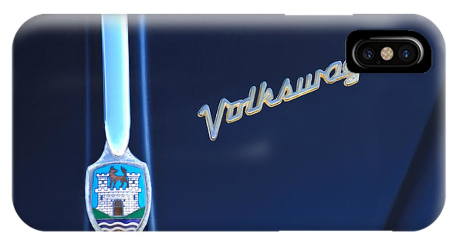 Volkswagen Vw Bug IPhone X Case featuring the photograph Volkswagen Vw Bug Hood Emblem by Jill Reger