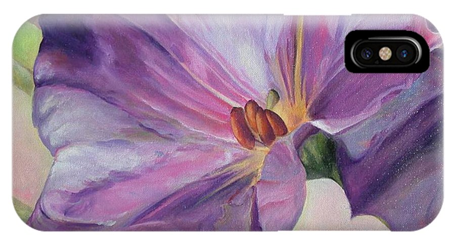 Floral Painting IPhone X Case featuring the painting Volubilis by Muriel Dolemieux