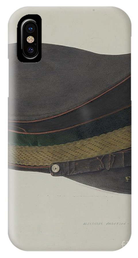 IPhone X Case featuring the drawing Volunteer Fireman's Cap by Alexander Anderson