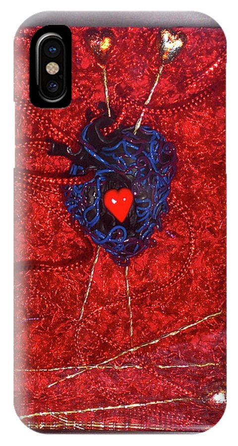 Voodoo Heart Sculpture IPhone X Case featuring the sculpture Voodoo Heart by Judy Henninger