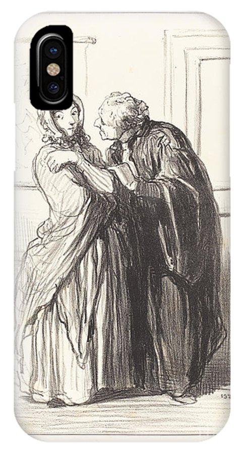 IPhone X Case featuring the drawing Vous ?tes Jolie... by Honor? Daumier
